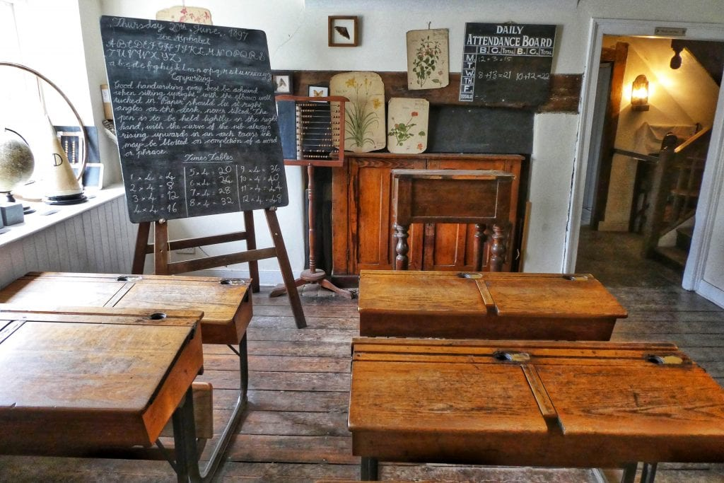overseas teachers and an old fashioned classroom