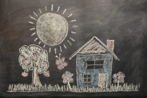 overseas teachers and a chalkboard picture of home